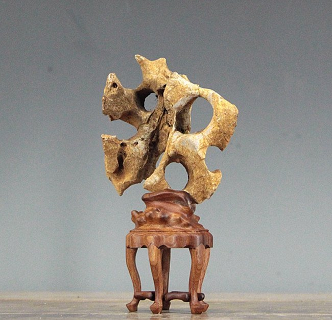 Antique Chinese Natural Tai Hu Scholar Rock Stand