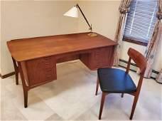 Mid-Century Modern Danish Teak Desk with Chair by Svend