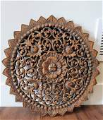 Carved Wood Wall Hanging Medallion , Asia