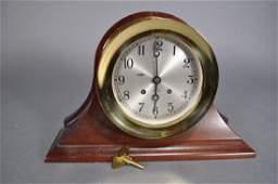 """Chelsea Ship's Bell Clock, 7 1/4"""", Mahogany Case"""