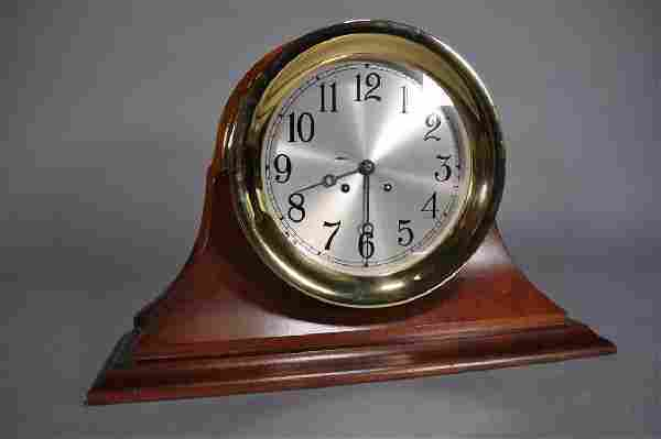 """Chelsea Ship's Bell Clock, 10"""", Mahogany Case"""
