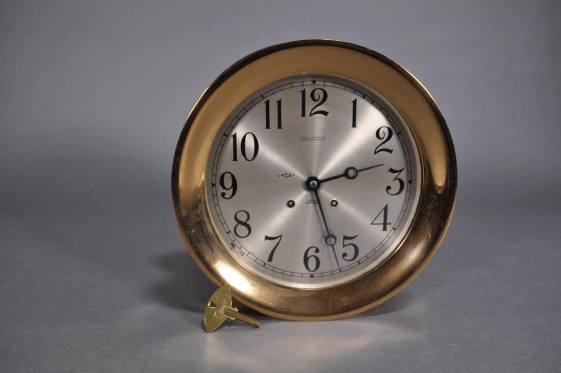 """Chelsea Ship's Bell Clock, 10"""", Brass, W/key"""