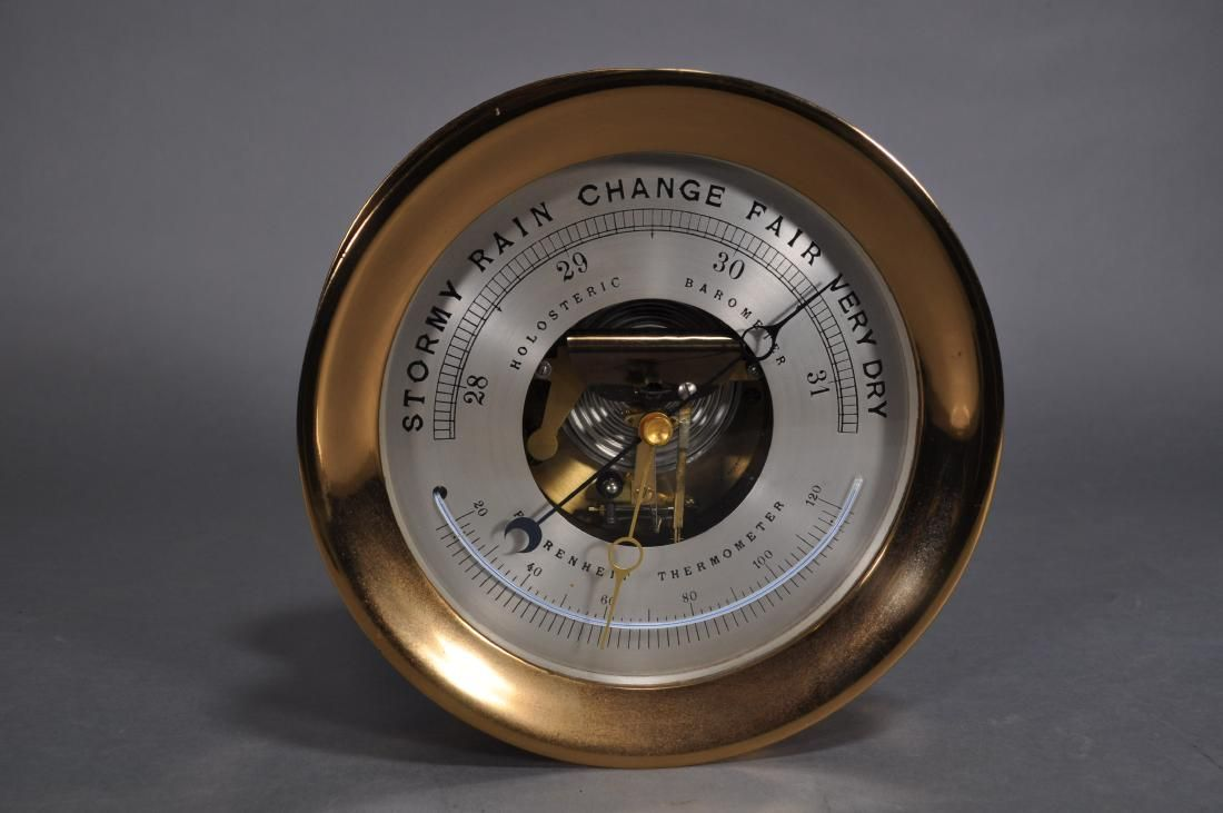 """Holosteric Barometer & Fahrenheit Thermometer, 10"""""""