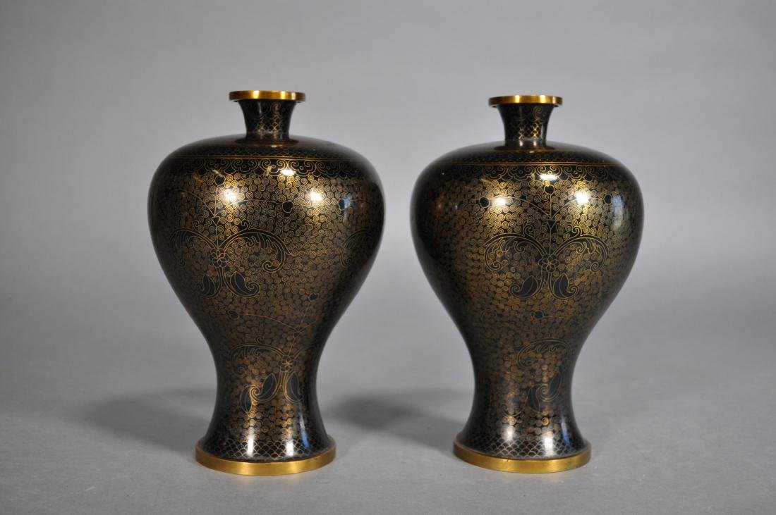 Pair Japanese Cloisonne Vases, Black & Gold Brass