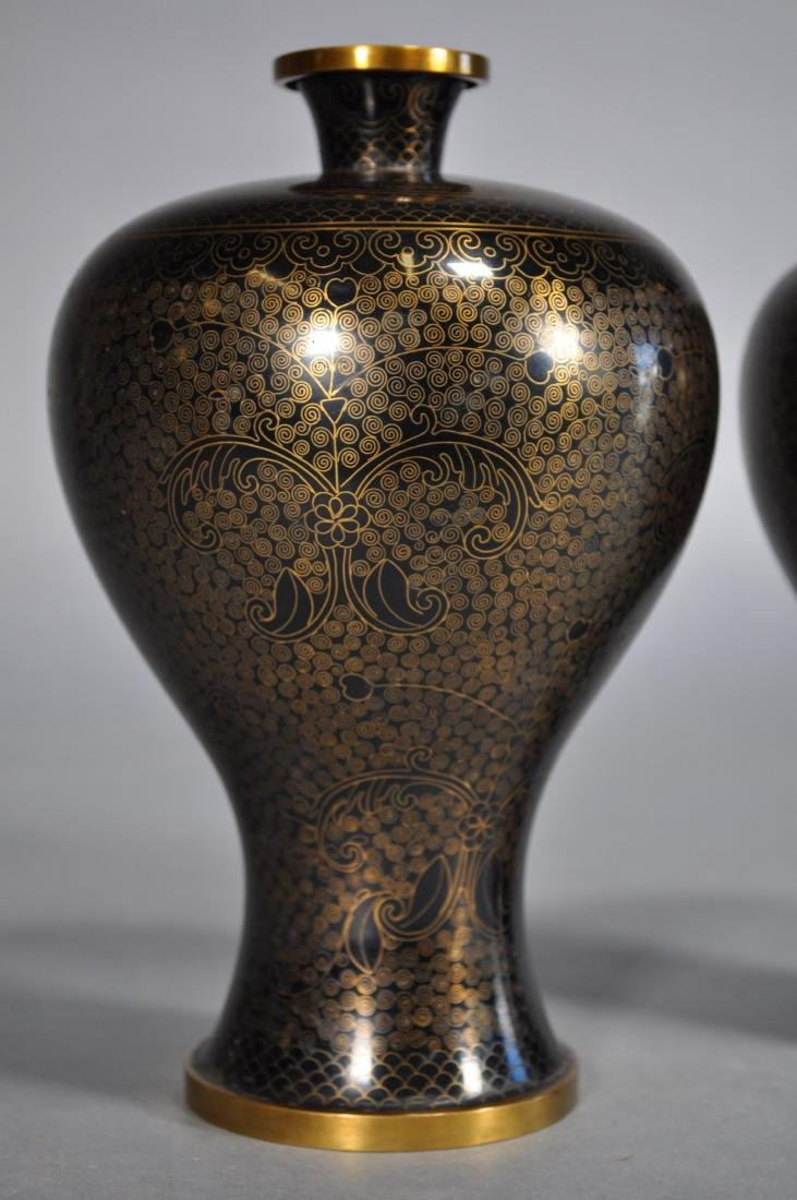 Pair Japanese Cloisonne Vases, Black & Gold Brass - 2