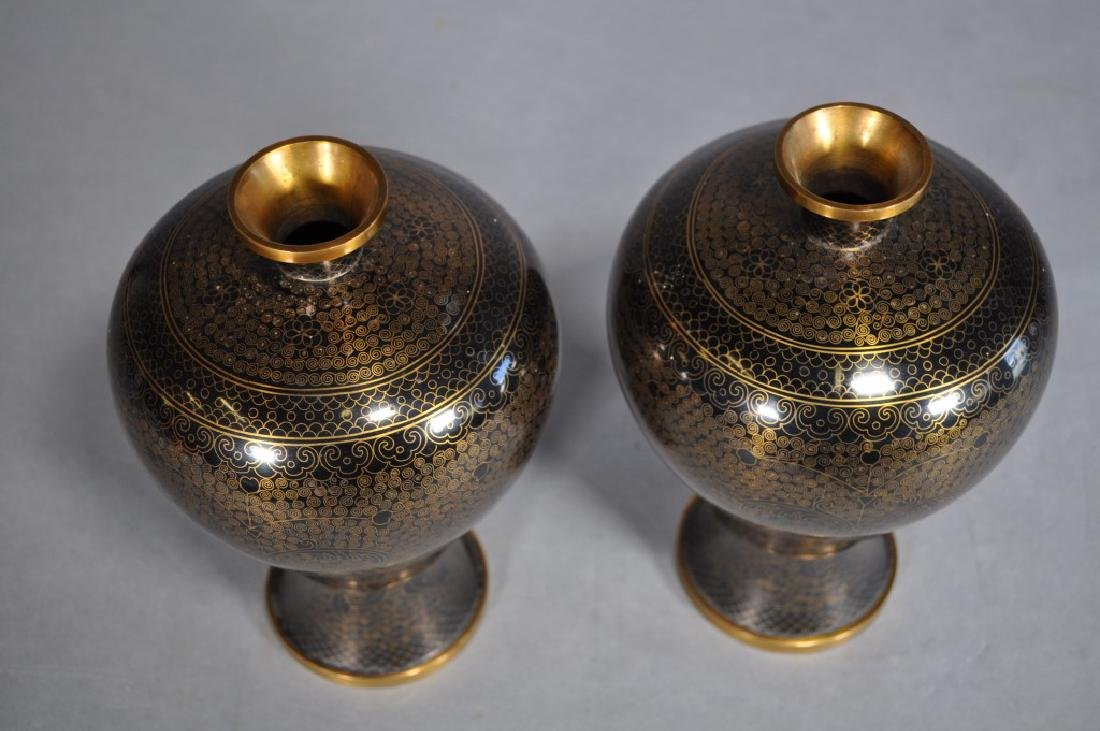 Pair Japanese Cloisonne Vases, Black & Gold Brass - 4