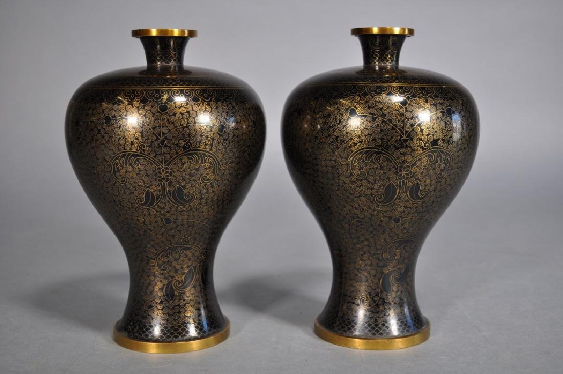 Pair Japanese Cloisonne Vases, Black & Gold Brass - 5
