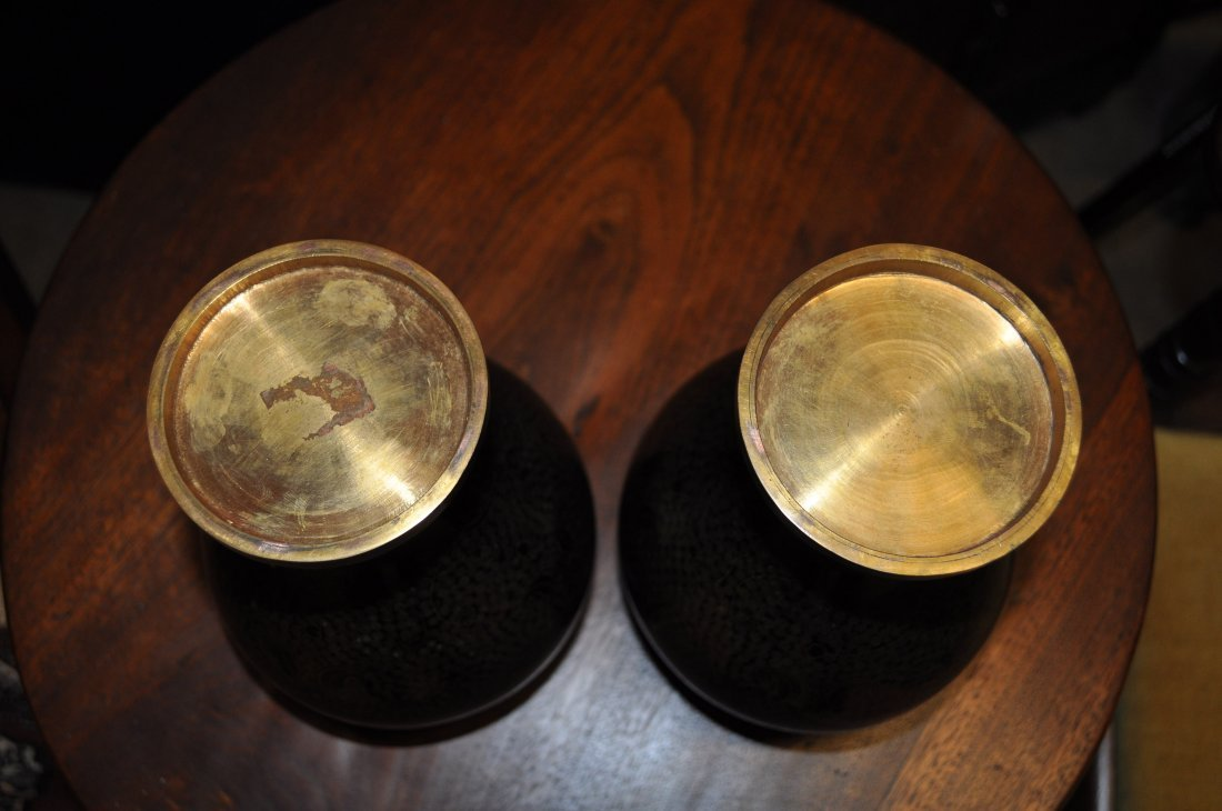 Pair Japanese Cloisonne Vases, Black & Gold Brass - 6