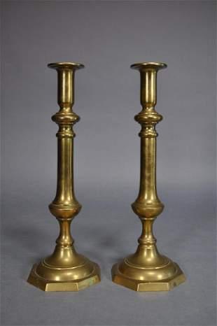 19th Century Brass Pushup Candlesticks 15 34