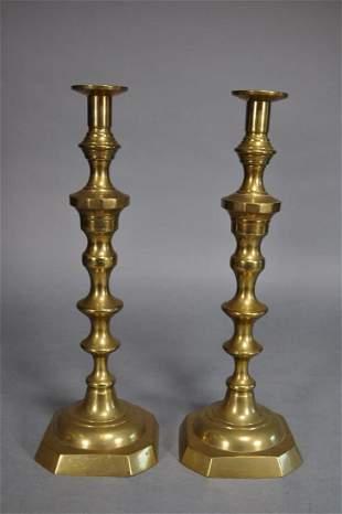 19th Century Brass Pushup Candlesticks 19 12