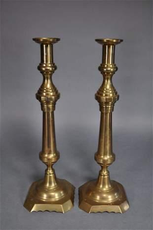 19th Century Brass Pushup Candlesticks 23 34