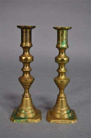 19th Century Brass Pushup Candlesticks 8 78