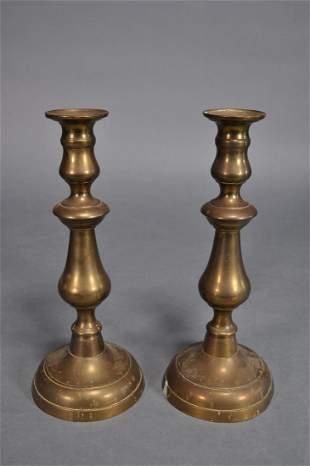 19th Century Brass Pushup Candlesticks 11 34
