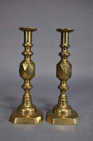 King Of Diamonds Brass Pushup Candlesticks 125