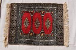 """Pakistani Hand Knotted Wool Pile Red Rug, 18x23"""""""
