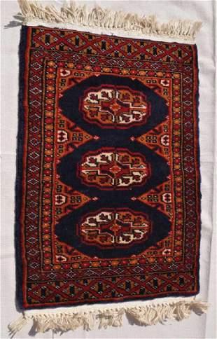 Pakistani Wool Pile Dark Navy Rug 3 Ovals 26x17