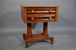 Hudson Valley Antique Work Table, Figural Maple