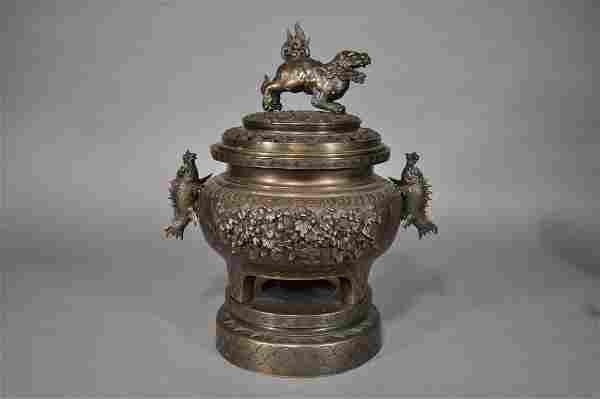 Large Temple Bronze Censer, Foo Dog, Seadragons,