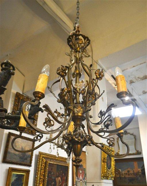 Arte Nouveau Five Lights Chandelier