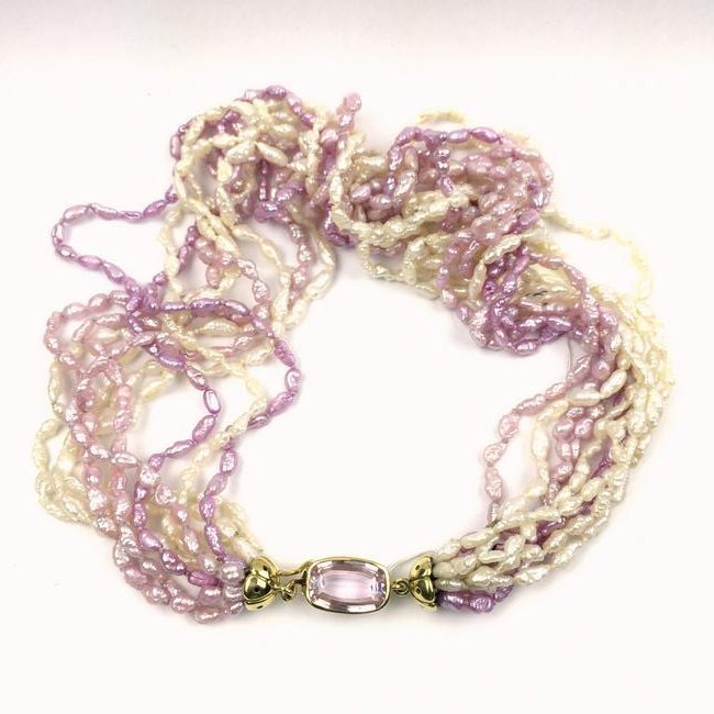 WHITE AND PINK BAROQUE PEARLS NECKLACE