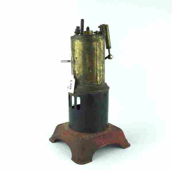 Steam engine in painted sheet metal and bronze