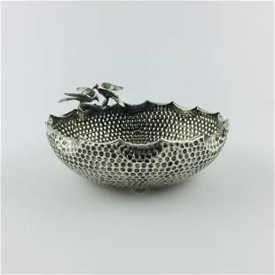 """Finnish 800 silver sculptured """"birds"""" centrepiece"""