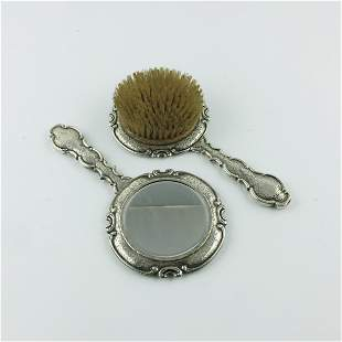 Czechoslovakian brush and mirror in silver