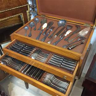 French Christofle silver plated metal cutlery set