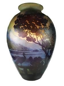 Acid cut Gallé glass vase