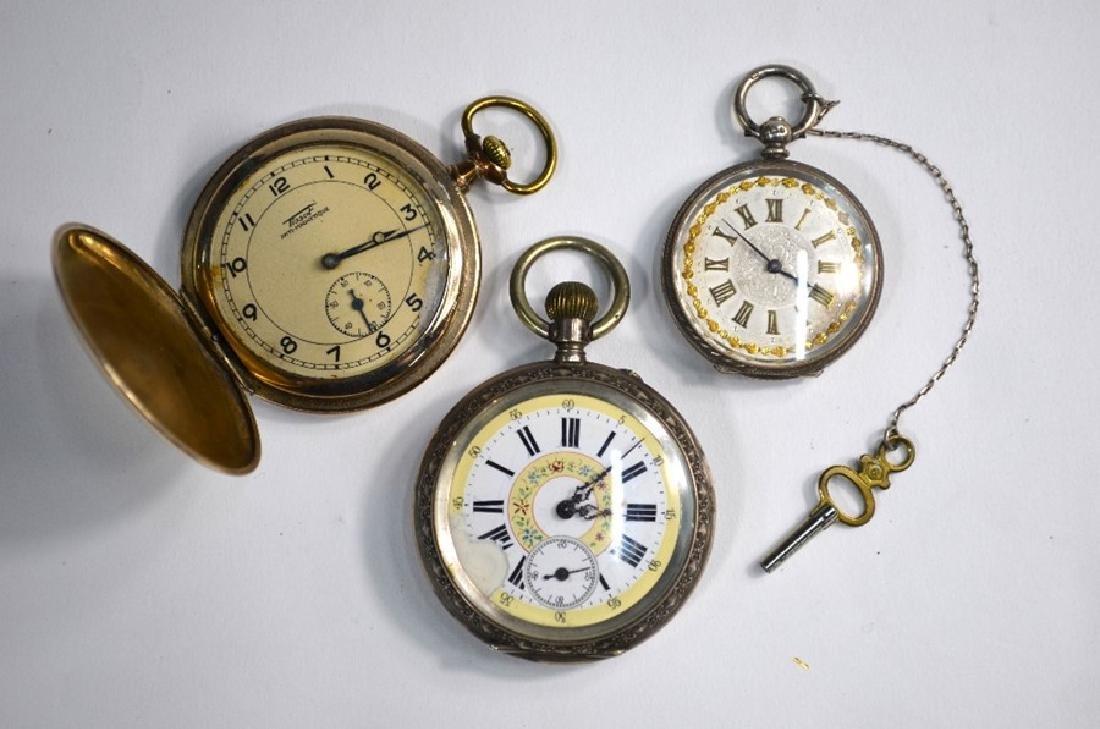 A Victorian silver fob watch, Tissot gilt metal hunter