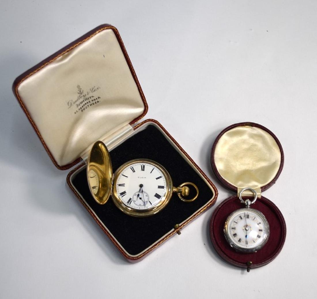 A Victorian engraved silver fob-watch and an Elgin gilt