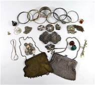 A quantity of antique and later silver and white metal