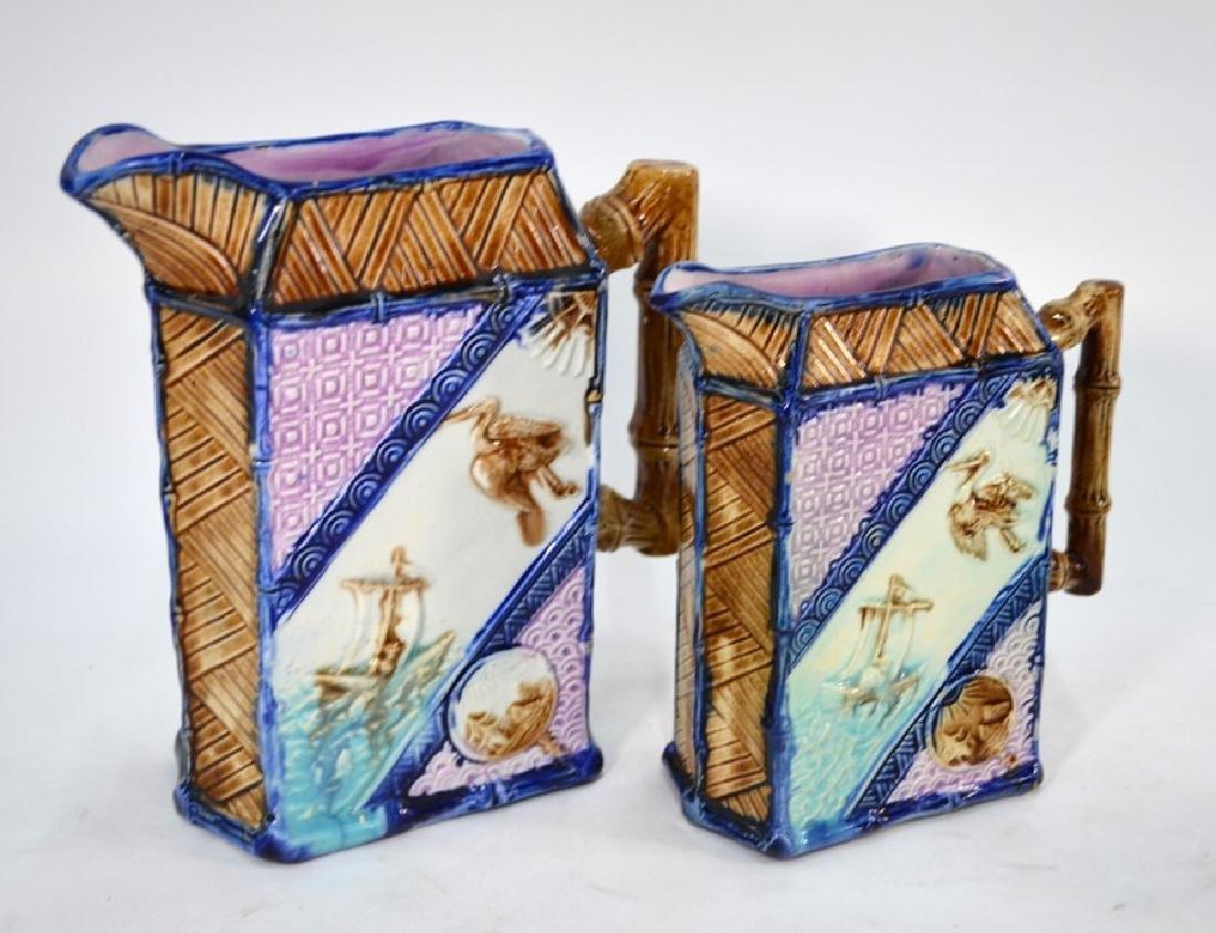 Two Victorian graduated majolica jugs