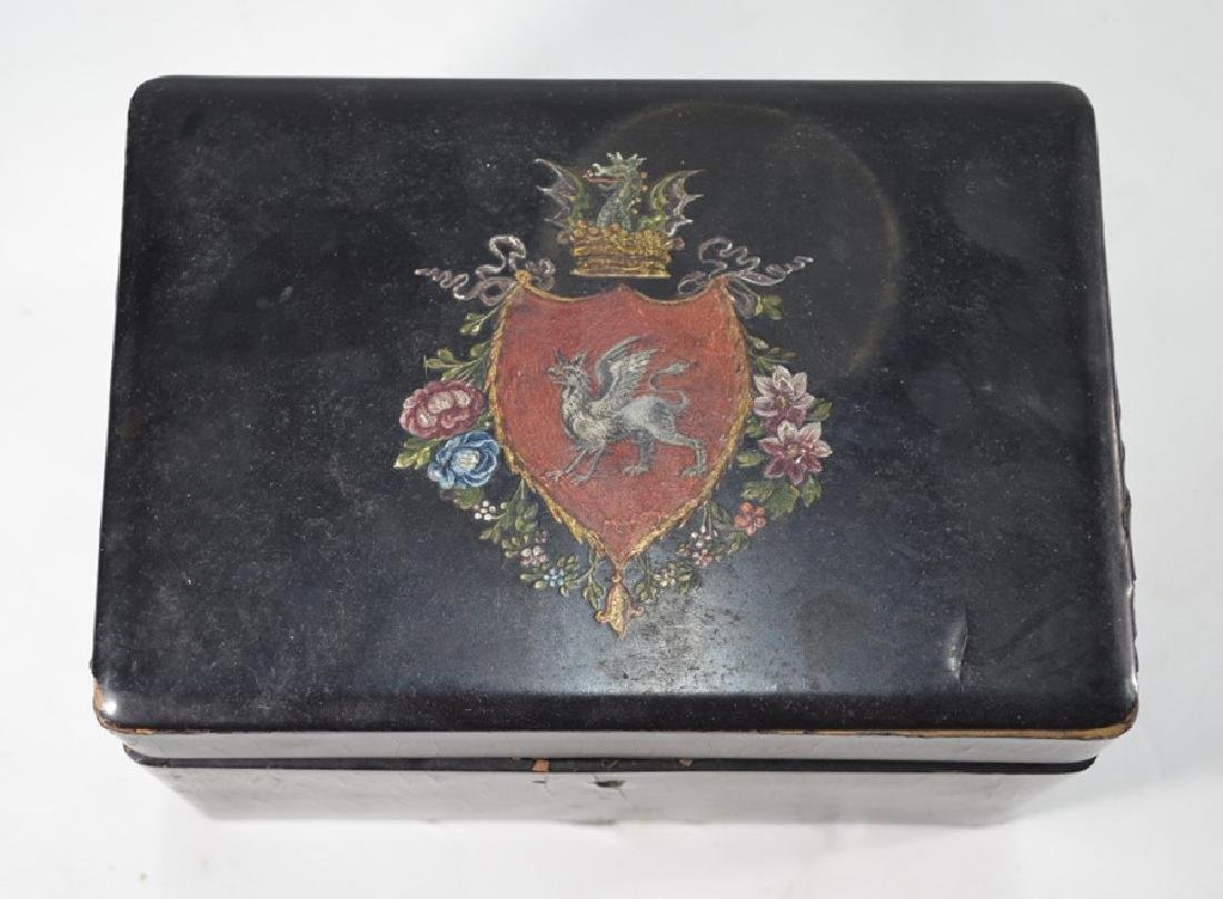 A 19th century Continental black lacquered decanter box