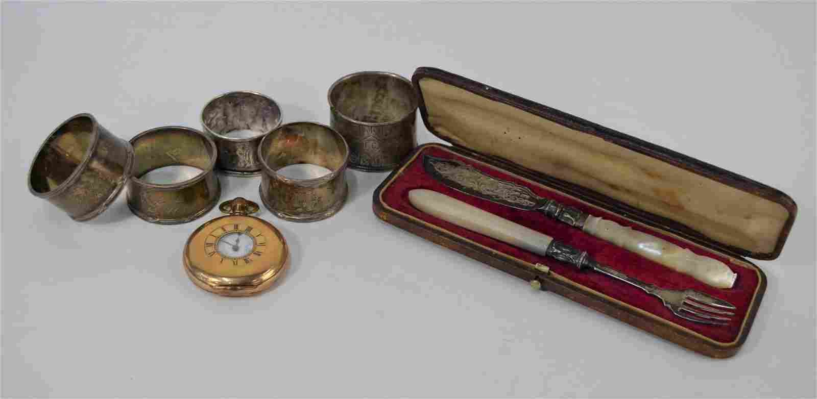 A Victorian cased silver butter knife etc.