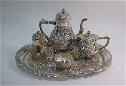An Indian heavy quality white metal coffee service