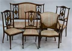 Late Victorian/Edwardian inlaid red walnut salon suite