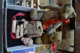 Two teddy bears and a doll