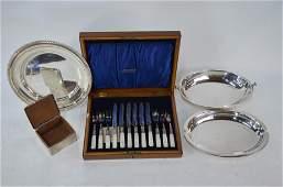 A late Victorian silver cigarette box etc