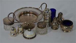 A Continental 925 standard bell-push and other silver