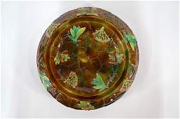 A Victorian George Jones  Sons majolica cheese dish