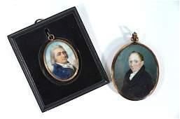 A Georgian oval portrait miniature of a gentleman with
