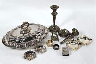 Silver ashtrays and various white metal, plate, etc.