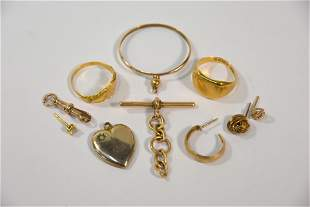 A collection of old gold items