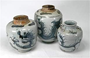 Two South East Asian provincial blue and white jars and