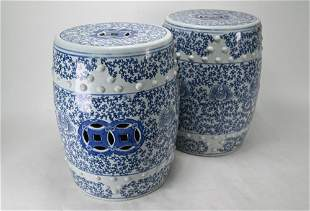 A pair of modern Chinese blue and white barrel form