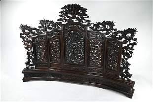 A decorative Chinese hardwood five-panel