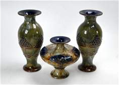 Three Art Nouveau Royal Doulton stoneware vases