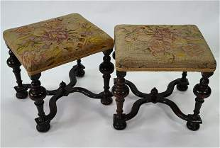 A pair of antique William & Mary style overstuffed