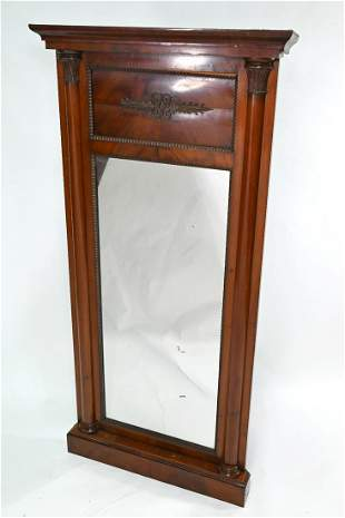 An antique Danish kingwood framed mirror, or pier glass